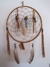 AUTHENTIC Native American made  Dream Catcher WHITE FOX FOOT Fur Feathers Beads