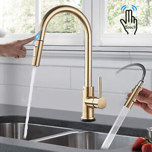 Touch sensor Kitchen Faucet Brushed Gold Pull Down Sprayer Single Handle Mixer
