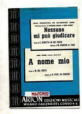 NESSUNO MI PUÒ GIUDICARE-A NOME MIO#Spartito Arion# C.Caselli-G.Pitney-Del Prete