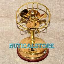 Brass Vintage Style Gift Collectible Antique Decorative Small Working Table Fan