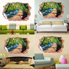 Adesivo parete 3d paesaggio foresta tropicale ruscello murale Wall Sticker pvc