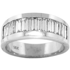 1.75ct MENS BAGUETTE DIAMOND RING 14K WHITE GOLD