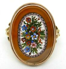 ITALY 14K Yellow Gold Flowers Micro Mosaic Calcedony Ring