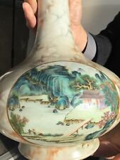 ANTIQUE CHINESE VERY FINE FAUX-BOIS FAMILLE ROSE PORCELAIN VASE- QIANLONG MARK