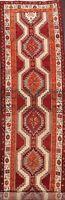 Vintage Geometric Meshkin Tribal Runner Rug Hand-Knotted Oriental Carpet 4x13 ft