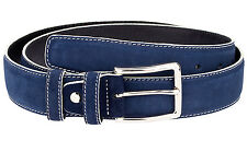 Blue suede belt White edges Golf belts for men Navy Italian leather Size 34