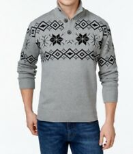 Weatherproof Vintage Snowflake Button-Up Mock Neck Pullover, Gray, XXL 2XL
