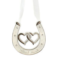 Wedding Silver Plated Ivory Double Heart Horseshoe Diamanté - Good Luck