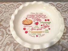 Decorated Ceramic Cherry Pie Plate,  Free Shipping