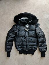 Pyrenex womens down ski jacket detachable fur hood black / silver 36 / XS