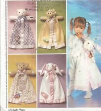 McCalls Pattern 3061, Blanket Buddies, Stuffed Animal & Blanket combo, Cat, Bear