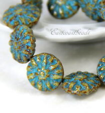 Dahlia Flower Coin Beads, 14mm, Beige w/Turquoise Wash, Czech Beads 5 Pieces