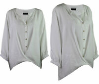 C&A Premium Collection Womens White Drape Notch Neck Classic Blouse Top 10- 22