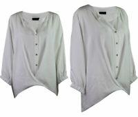 C&A Premium Collection Womens White Drape Notch Neck Classic Blouse Top 10- 22