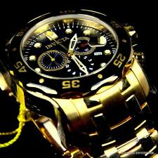 Invicta Pro Diver Scuba 18kt Gold Plated Black Chronograph Swiss Parts Watch New