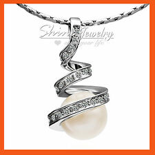 18K GOLD GF INFINITY TWIST PEARL Simulated Diamond BRIDAL SOLID NECKLACE PENDANT