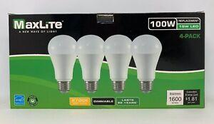 4 Maxlite Dimmable LED Soft White Light Bulb 15-Watt 100 W replacement 2700k