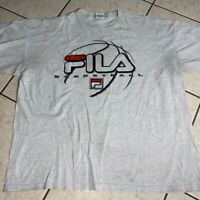 Vintage 90s FILA Basketball Heather Gray T Shirt Men's Size XL Made In Usa