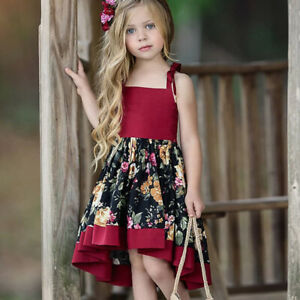Mädchen Kinder Blumen Abendkleid Partykleid Kleider Schürze Partykleid Urlaub