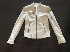 JUICY COUTURE OFF WHITE BEIGE LEATHER MOTORCYCLE BLAZER JACKET XS ALL SAINT