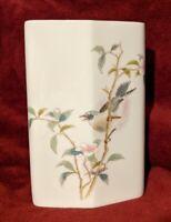 """Japanese Porcelain China Ceramic Vase - Yamaji 7"""" - Singing Bird - Unique Shape"""