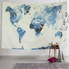 Watercolor World Map Tapestry Wall Hanging Tapestry Living Room Bedroom Decor