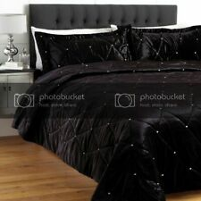 5 PC Twin Black Crystal Quilted VelvetBed Spread Set Stone Design
