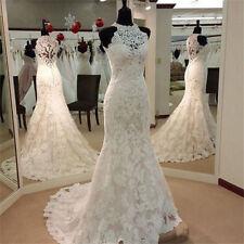 New White/Ivory Lace Mermaid Wedding Dresses Bridal Gown Custom Size 2-24+++++++