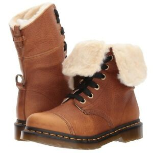 DR. MARTENS WOMENS AIMILITA 9-EYE FUR-LINED TAN GRIZZLY LEATHER BOOTS 22693220