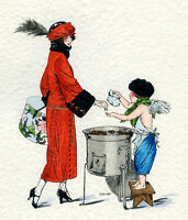 1930s French Pochoir Artdeco Print Herouard Flapper Buying Chestnuts Cherub