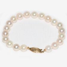 "Saltwater Akoya Pearl  Bracelet  8 - 8.5  14kt Yellow Gold  7"" 1/2"