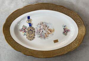 DAL DEPOS DECORAZIONI  ESCLUSIVE T.LIMOGES ITALY Platter Cherubs Dish 24K Gold