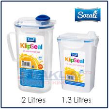 Clip Seal JUICE JUG Drinks PITCHER Twist Cap Seal Lid Lock Clear Plastic Fridge