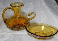 Pair Of Vintage MCM Amber Glass Dishes- A Carafe And Swan Candy Dish Fall Decor