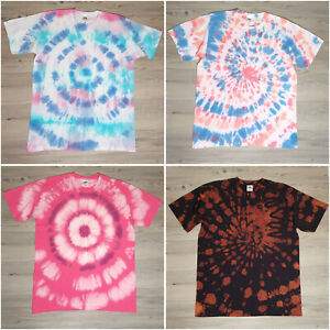 Unisex Size Large Tie Dye T-Shirt Many Colours and Designs Hippy Summer