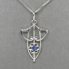 Diamond & Sapphire Pendant Necklace in 14k White Gold 18