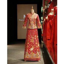 "Chinese Traditional Wedding Dress (""kua"") With Headgear & Earrings"