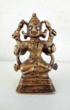 1850's Antique Old Rare Hand Carved Brass Hindu Goddess Durga Ambey Laxmi Statue
