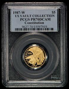 1987 $5 Constitution Commemorative Gold - US Vault Coll. -PCGS PR70 DCAM- G1011