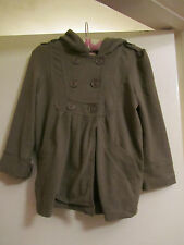 Girls Khaki Green - Brown Roxy Spring Coat / Jacket with Hood - 8 years