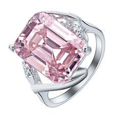 Fashion Women Jewelry Big Pink ruby  925 silver Bridal  Ring Size8 M585