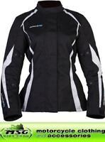 Spada Textile Planet Motorcycle Jacket Waterproof Black/White All Sizes- Ladies