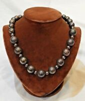 """Vintage Sterling Silver Round Beaded Necklace 32"""" Long"""