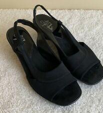 Life Stride Slingback Sandals Size 7.5 Black Open Toe