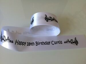 45mm Personalised Music Notes Ribbon Gift Wrap / Cake Any name / Any Message