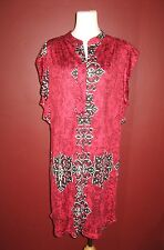 Almatrichi Madrid-Spain 46 burgundy black white red asymmetrical S/S dress