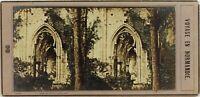 Leon Jouvin Francia Normandie Rovine Gotico, Foto Stereo Vintage Albumina c1860