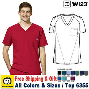 WonderWink Scrub W123 Men's New Modern Fit Chest Pocket V-Neck Top 6355