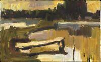 """Russischer Realist Expressionist Öl Leinwand """"Abend"""" 80 x 50 cm"""