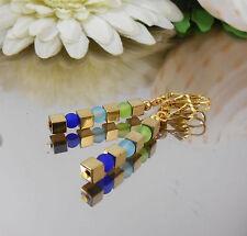 Hämatit gold + Glas Perlen matt Ohrhänger in Blau Türkis Grün - Ohrringe